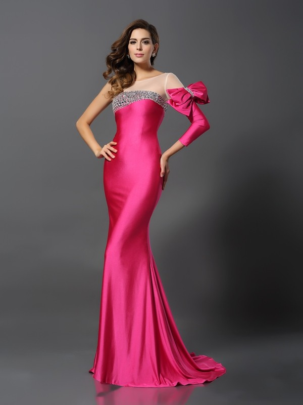 Unique Mermaid Bateau Cut Spandex Long Dresses With Bowknot