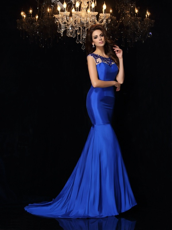 Bright Mermaid Bateau Cut Taffeta Long Dresses With Applique