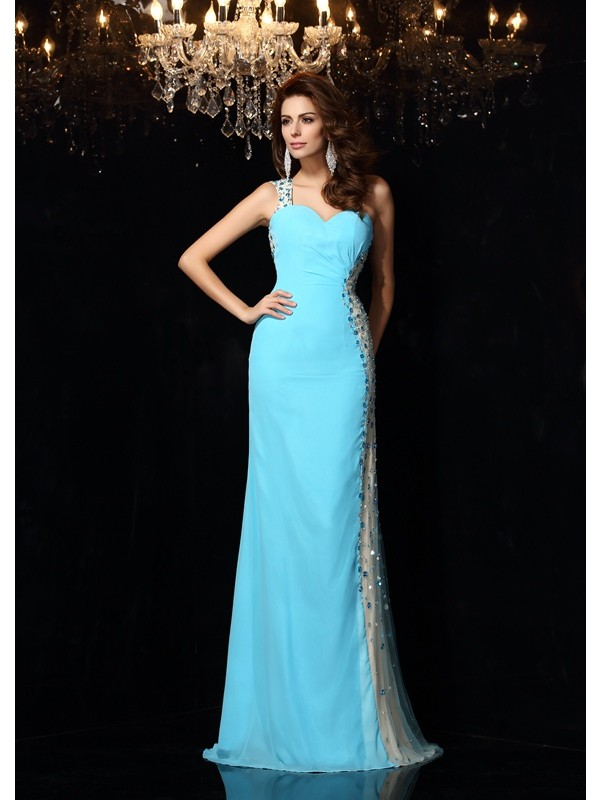 Chic Sheath One-Shoulder Cut Chiffon Long Dresses With Rhinestone