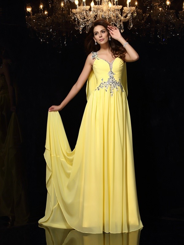 Sweet A-Line Straps Cut Chiffon Long Dresses With Beading