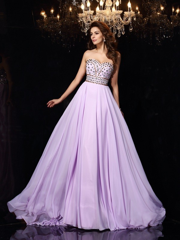 Stylish A-Line Sweetheart Cut Chiffon Long Dresses With Beading