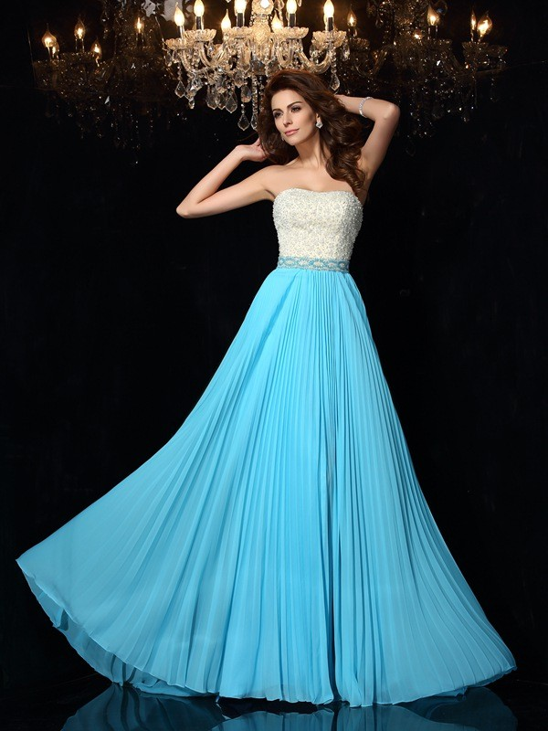Popular A-Line Strapless Cut Chiffon Long Dresses With Beading