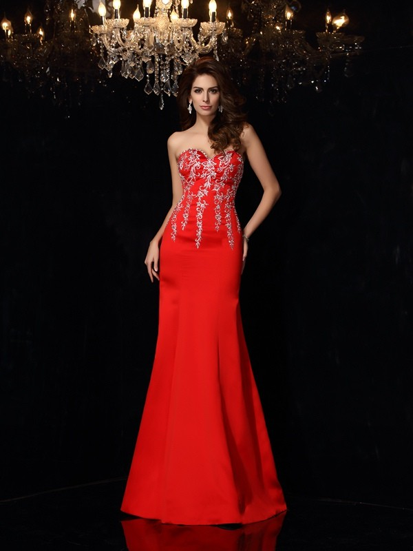 Trendy Sheath Sweetheart Cut Satin Long Dresses With Applique
