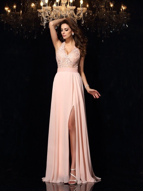 Charming A-Line Halter Cut Chiffon Long Dresses With Lace