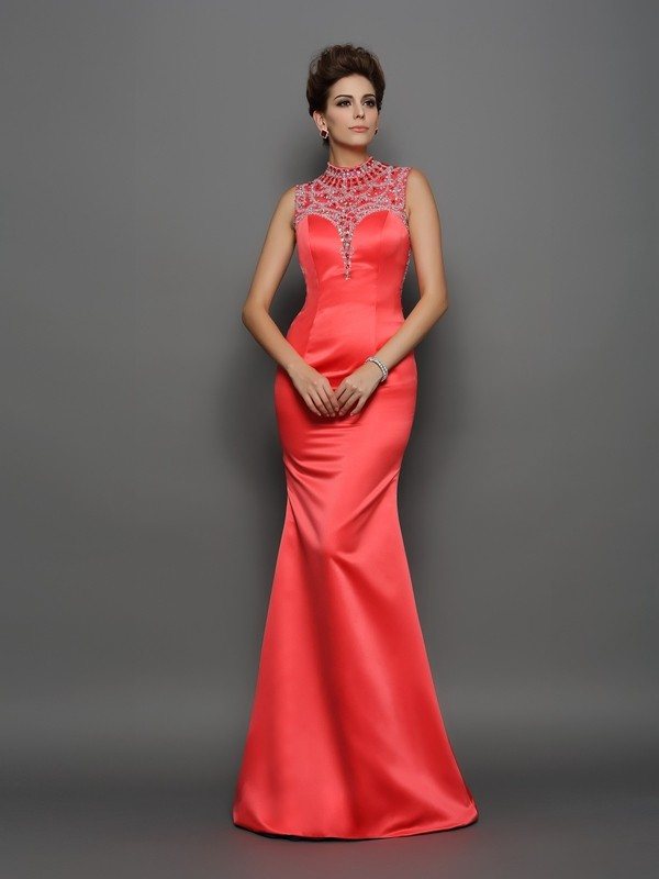 Elegant Mermaid High Neck Cut Satin Long Dresses With Beading