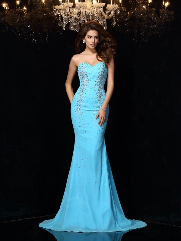 Awesome Sheath Sweetheart Cut Chiffon Long Dresses With Beading