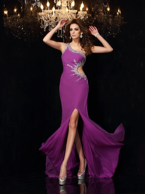 Exquisite Sheath One-Shoulder Cut Chiffon Long Dresses With Beading