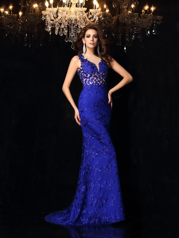 Graceful Mermaid High Neck Cut Satin Long Dresses With Lace