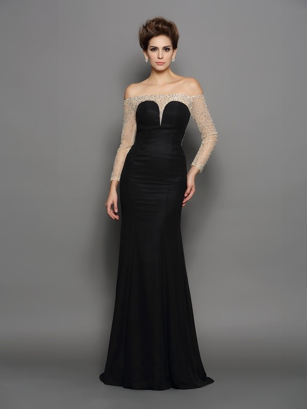 Lovely Mermaid Off-the-Shoulder Cut Chiffon Long Dresses With Beading