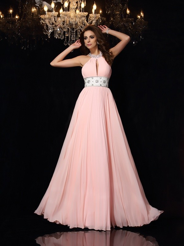 Shining A-Line High Neck Cut Chiffon Long Dresses With Pleats