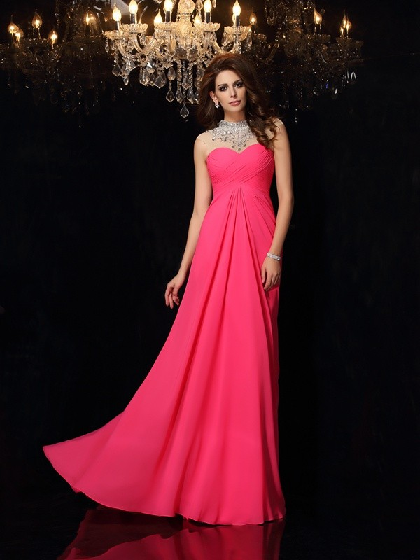 Special A-Line High Neck Cut Chiffon Long Dresses With Ruched