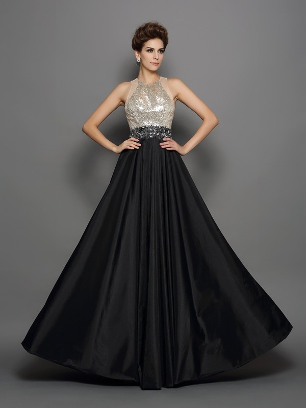 Hot A-Line High Neck Cut Taffeta Long Dresses With Sequin