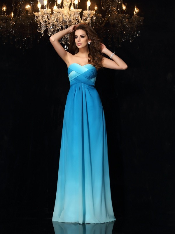Glamorous A-Line Sweetheart Cut Chiffon Long Dresses With Ruched
