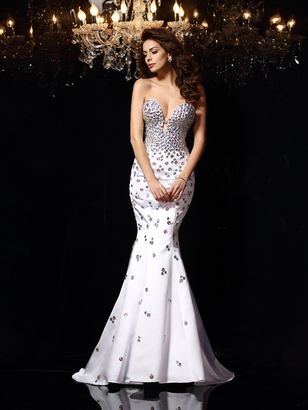 Nice Mermaid Sweetheart Cut Satin Long Dresses With Rhinestone