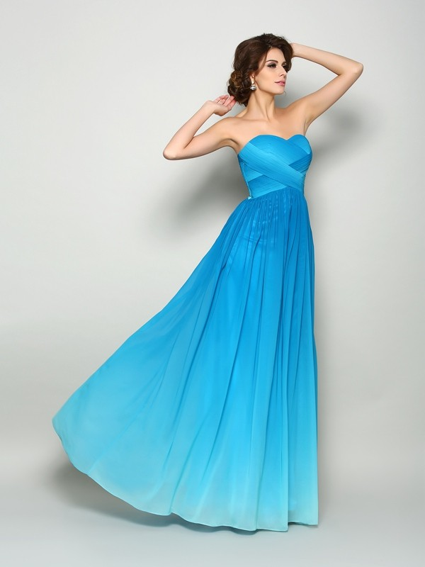 Charming A-Line Sweetheart Cut Chiffon Long Dresses With Pleats