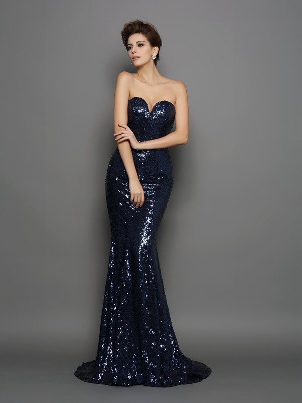 Elegant Mermaid Sweetheart Cut Sequins Long Dresses With Sequin