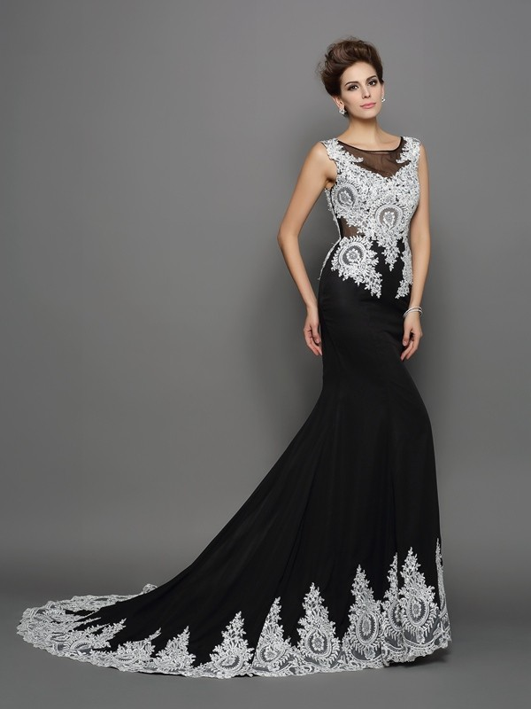 Awesome Mermaid Scoop Cut Chiffon Long Dresses With Lace