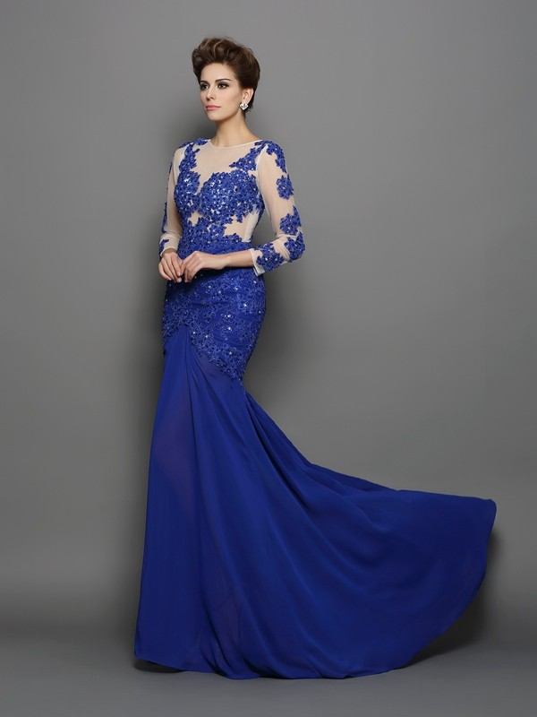 Lovely Mermaid Scoop Cut Chiffon Long Dresses With Lace