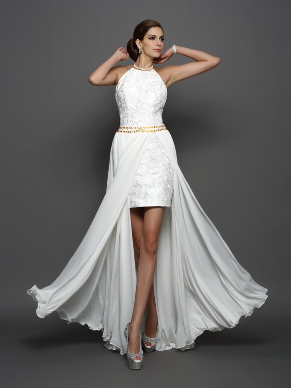 Shining A-Line High Neck Cut Chiffon Long Wedding Dresses With Lace