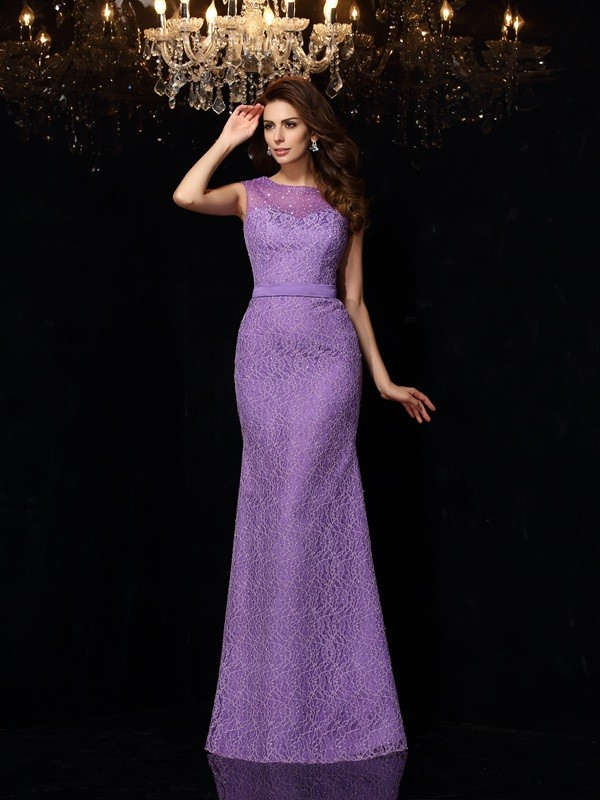 Attractive Sheath Scoop Cut Satin Long Dresses With Lace