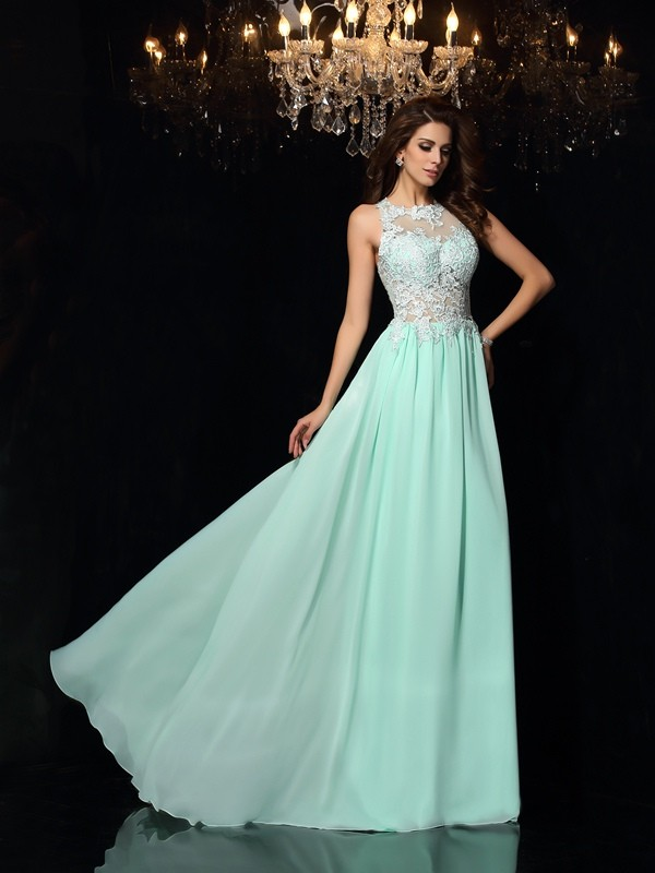 Special A-Line High Neck Cut Chiffon Long Dresses With Applique