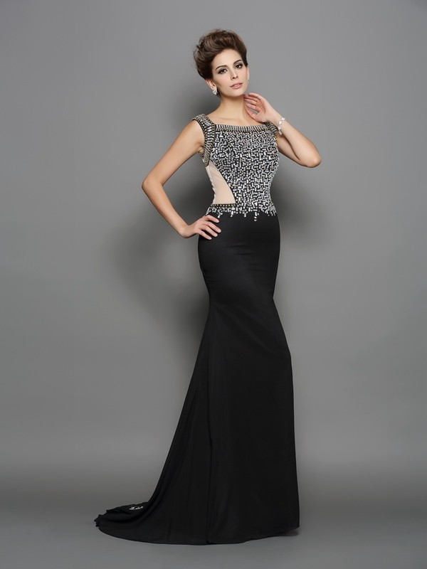 Delicate Mermaid Square Cut Chiffon Long Dresses With Beading
