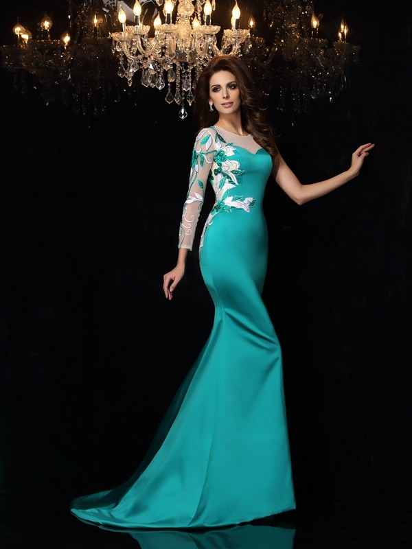 Modern Mermaid Scoop Cut Satin Long Dresses With Beading