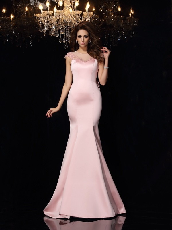 Chic Mermaid Scoop Cut Satin Long Dresses With Beading