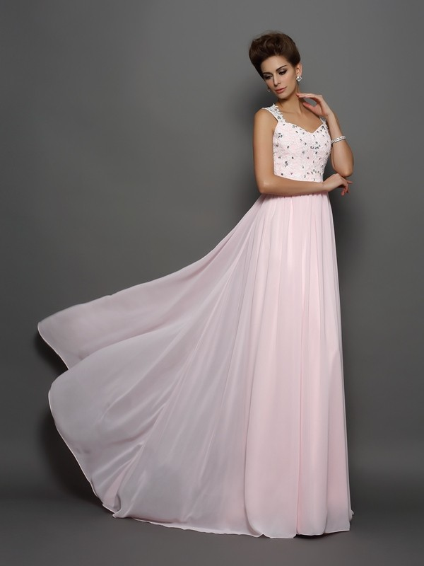 Glamorous A-Line Straps Cut Chiffon Long Dresses With Beading