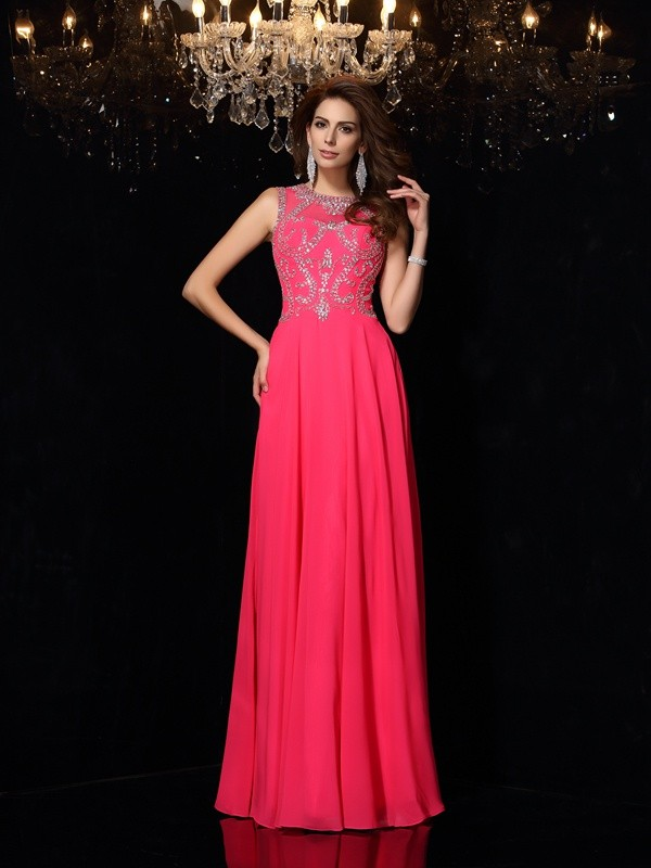 Popular A-Line Scoop Cut Chiffon Long Dresses With Beading