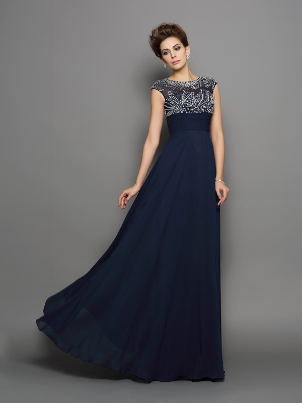 Trendy A-Line Scoop Cut Chiffon Long Dresses With Beading