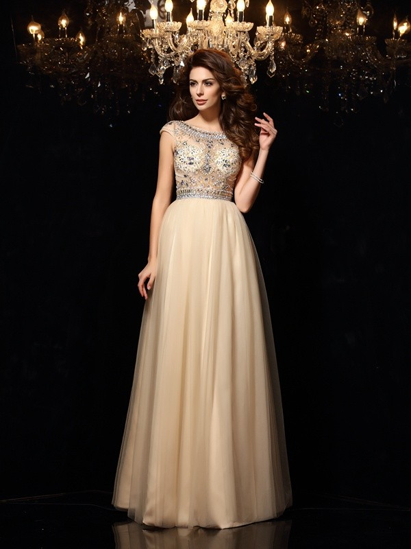 Gorgeous A-Line Scoop Cut Net Long Dresses With Beading