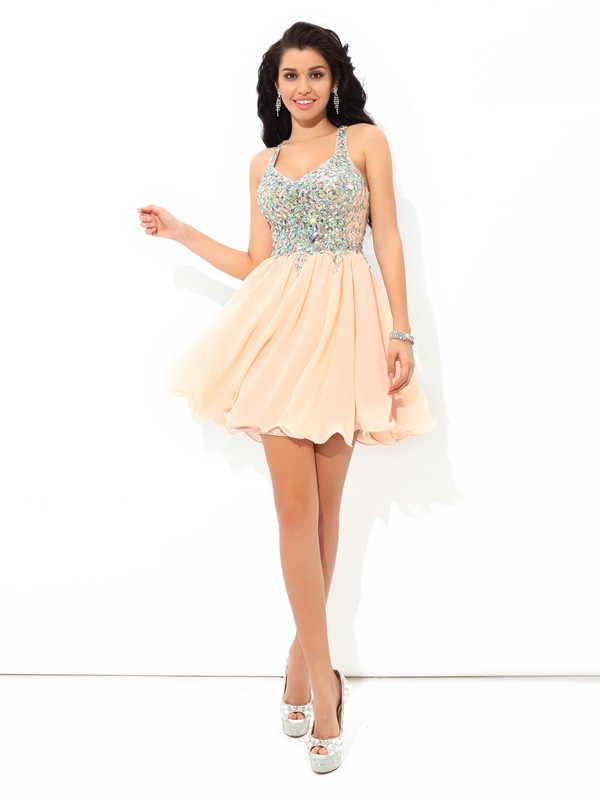 Chic A-Line Straps Cut Chiffon Short Dresses With Rhinestone