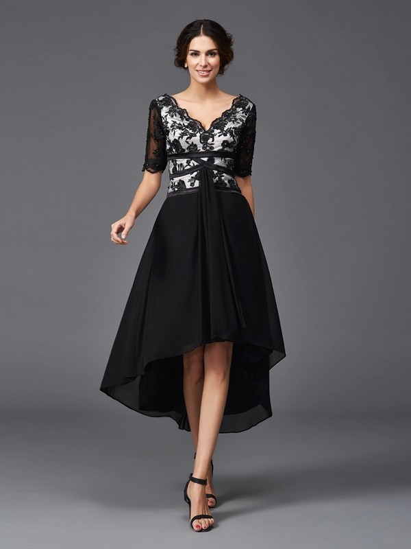 Stylish A-Line V-neck Cut Chiffon High Low Dresses With Lace