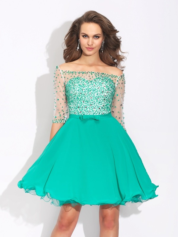 Popular A-Line Off-the-Shoulder Cut Chiffon Short Dresses With Beading