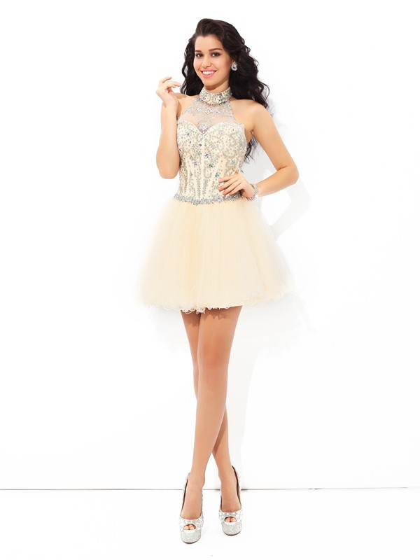 Gorgeous A-Line Halter Cut Satin Short Dresses With Beading