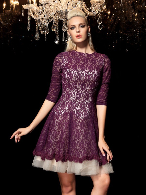 Amazing A-Line Sheer Neck Cut Lace Short Dresses With Lace