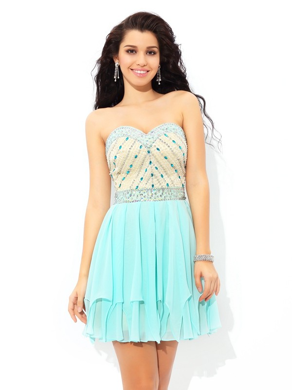 Graceful A-Line Sweetheart Cut Chiffon Short Dresses With Beading