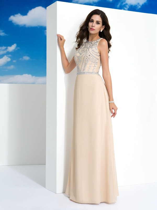 Lovely A-Line Scoop Cut Chiffon Long Dresses With Beading