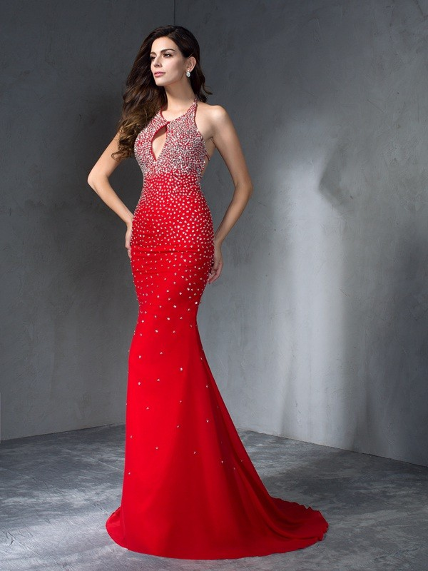 Attractive Mermaid Halter Cut Chiffon Long Dresses With Beading