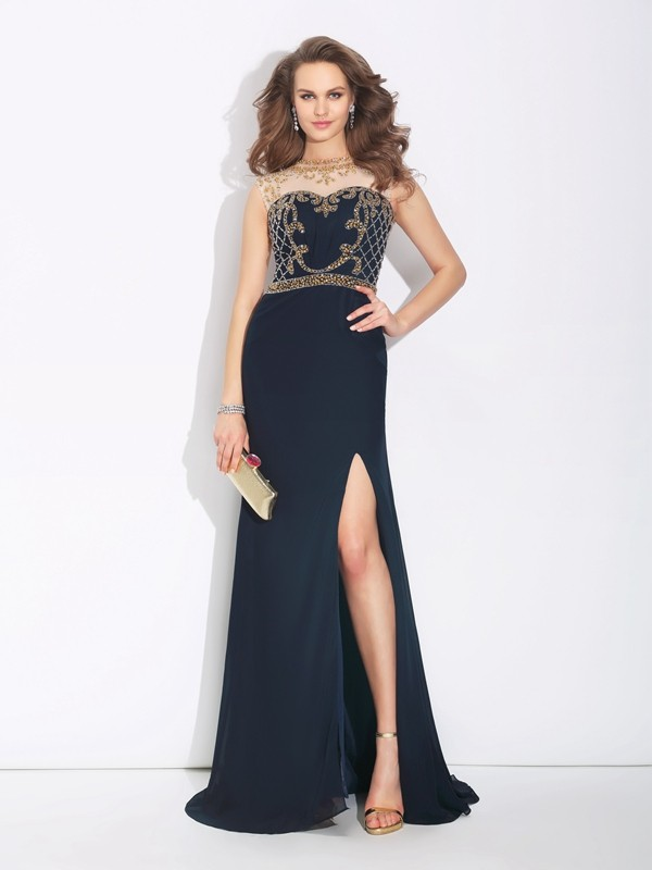 Bright A-Line Jewel Cut Chiffon Long Dresses With Beading