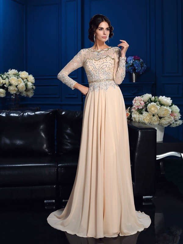 Dreamlike A-Line Scoop Cut Chiffon Long Dresses With Beading