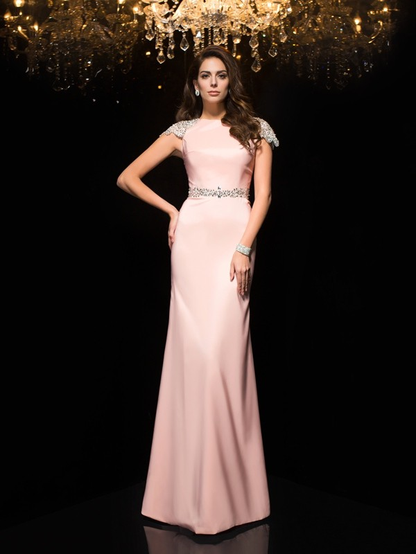 Soft Sheath Jewel Cut Satin Long Dresses With Beading