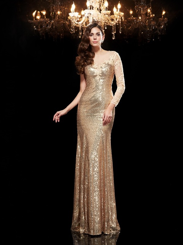Chic Mermaid Scoop Cut Sequins Long Dresses With Lace