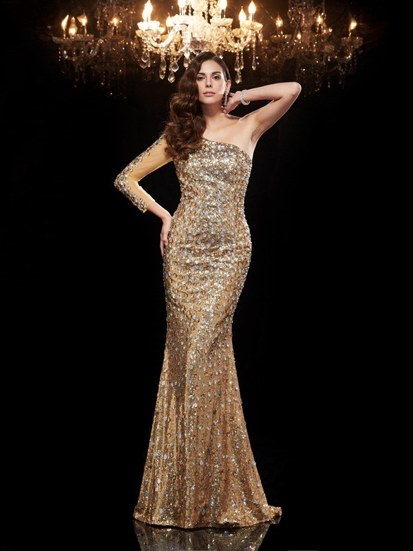 Hot Mermaid One-Shoulder Cut Sequins Long Dresses With Beading