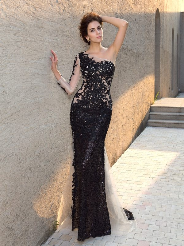 Trendy Sheath One-Shoulder Cut Lace Long Dresses With Sequin