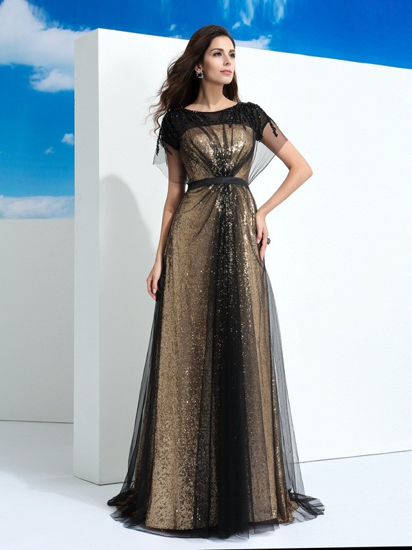 Nice A-Line Sheer Neck Cut Net Long Dresses With Paillette