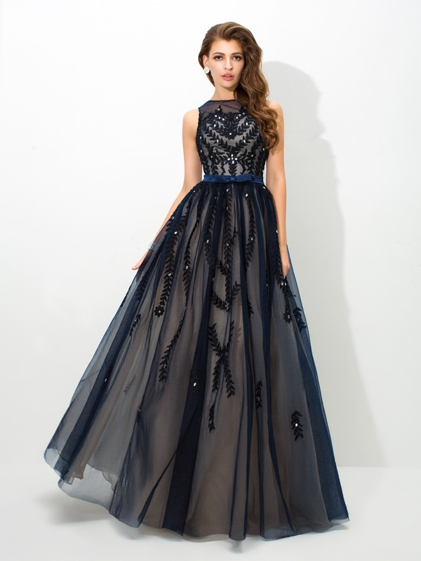 Awesome A-Line Sheer Neck Cut Tulle Long Dresses With Applique