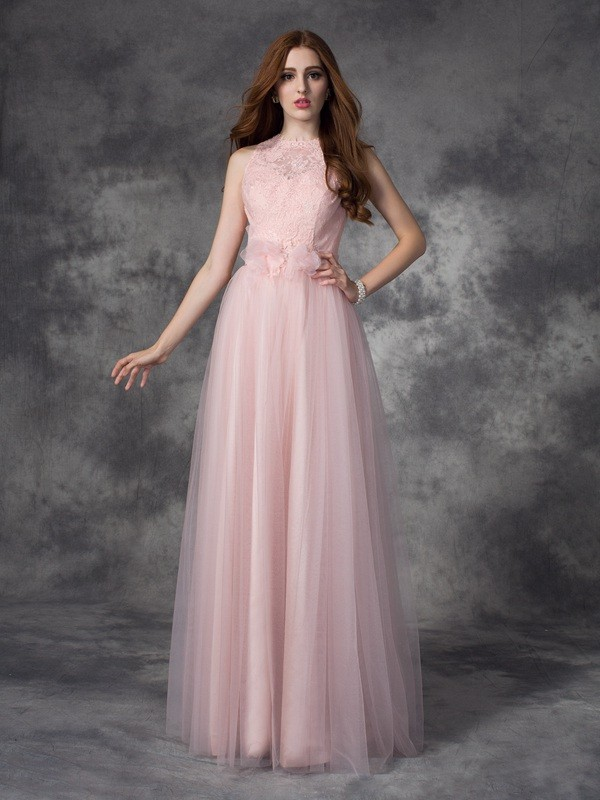 Exquisite A-Line Bateau Cut Net Long Dresses With Hand-Made Flower