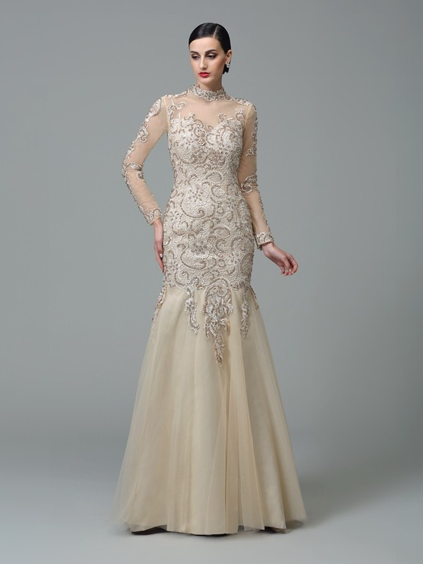 Amazing Sheath High Neck Cut Net Long Dresses With Applique